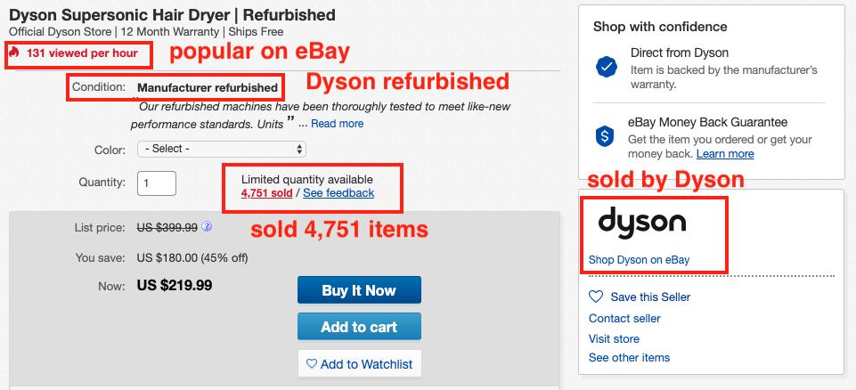 eBay dyson supersonic hair dryer