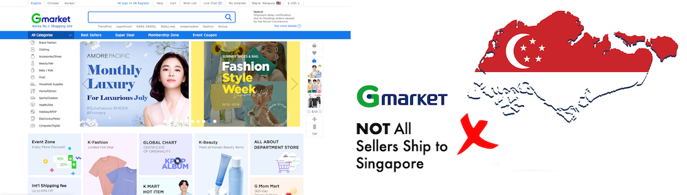 shop gmarket ship to Singapore